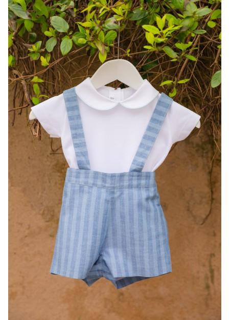 Short à bretelles rayé bleu brooklyn