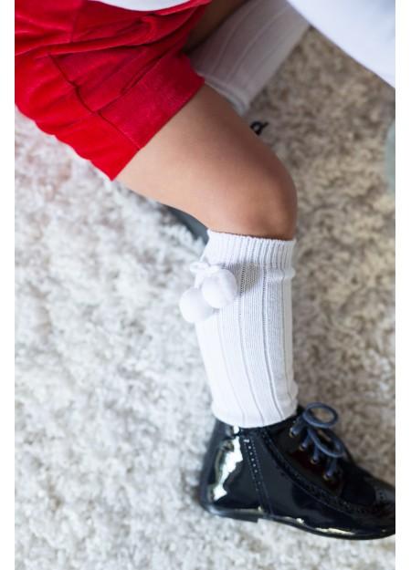 Chaussettes canelés à pompoms blanche