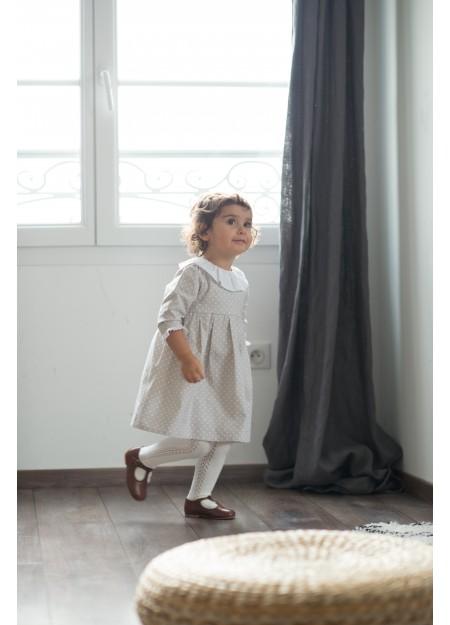 Robe grise à petit pois blanc